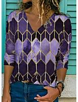 cheap -Women's Blouse Shirt Color Block Long Sleeve Patchwork Print V Neck Tops Basic Top Purple Khaki Green