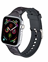 cheap -ls apple watch band compatible with 42/44mm, for women men, soft silicone painted pattern band strap for iwatch apple watch series se 6 5 4 3 2 1(camouflage black, 42mm/44mm)