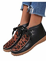 cheap -women's leapard pathes ankle boots retro lace up waterproof short boots waterproof flat bottom outdoor causal shoes sporty western shoes (black, 11)