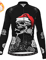cheap -21Grams Women's Long Sleeve Cycling Jersey Winter Fleece Polyester Black Skull Christmas Santa Claus Bike Jersey Top Mountain Bike MTB Road Bike Cycling Fleece Lining Warm Quick Dry Sports Clothing