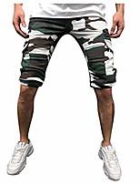 cheap -mens casual camouflage elastic waist multi pockets cargo shorts drawstring slim fit beach trunks hiking pants