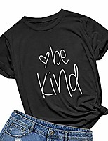 cheap -womens be kind t shirt summer cute letter print short sleeve loose tops inspirational graphic tees black small