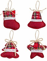 cheap -4 pieces rustic christmas tree ornaments- red burlap plaid christmas stocking tree bell star shaped christmas tree hanging decorations pendant for festival holiday party decor (4 styles)