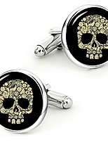 cheap -vintage gold skull cuff links personalized gold skull cufflinks wedding jewelry gift for men (style 1)