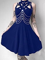 cheap -A-Line Vintage Sexy Party Wear Cocktail Party Dress High Neck Sleeveless Short / Mini Spandex with Criss Cross 2020