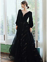 cheap -A-Line Elegant Sparkle Prom Formal Evening Dress V Neck Long Sleeve Floor Length Lace Satin Tulle with Crystals Sequin 2020