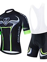 cheap -Men's Short Sleeve Cycling Jersey Cycling Jersey with Bib Shorts Cycling Jersey with Shorts Black Green Black / White Bike Breathable Quick Dry Sports Graphic Mountain Bike MTB Road Bike Cycling