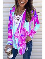 cheap -Women's Plus Size Blouse Tie Dye Long Sleeve V Neck Tops Basic Basic Top Blue Purple Red