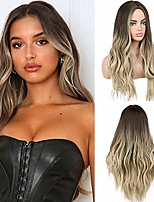 cheap -long wavy synthetic wigs ombre brown mix blonde middle part natural hair wigs for women cosplay wigs heat resistant fiber (ombre ash blonde mix bleach blonde)