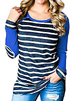 cheap -womens fall winter baseball tee striped color block tunic shirt with raglan long sleeve(blue, large)