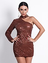 cheap -Sheath / Column Sexy Sparkle Party Wear Cocktail Party Dress High Neck Long Sleeve Short / Mini Sequined with Sequin 2020