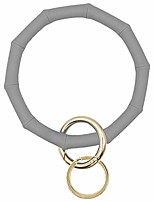 cheap -key ring bracelet wristlet keychain bamboo style silicone bangle keyring(gray)