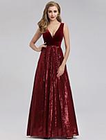cheap -A-Line Elegant Sparkle Party Wear Formal Evening Dress V Neck Short Sleeve Floor Length Sequined Velvet with Sequin 2020