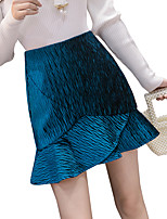 cheap -Women's Causal Daily Active Streetwear Skirts Solid Colored Pleated Black Royal Blue Gray