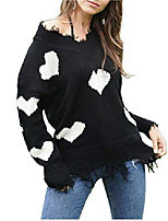 cheap -womens casual v-neck knitted sweater pullover love heart pattern black white l