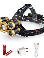 cheap -waller paa 50000lm 5x xm-l t6 led rechargeable 18650 usb headlamp head light zoomable (gold)