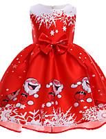cheap -Santa Suit Reindeer Dress Kid's Toddler Girls' Dresses Christmas Christmas Festival Christmas Festival / Holiday Polyster White / Red / Red Easy Carnival Costumes Cartoon Snowflake Christmas / Skirt