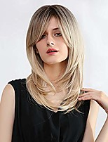 cheap -n&t ombre blonde wigs for women long layered wig with bangs brown roots straight wavy shoudler length heat resistant synthetic fiber hair
