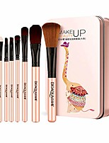 cheap -makeup brush sets - 7 pcs makeup brushes premium cosmetic brushes with iron box for women girls foundation blending blush concealer eye shadow (pink)