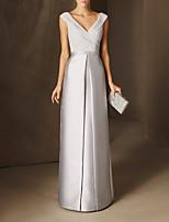 cheap -Sheath / Column Elegant Minimalist Wedding Guest Formal Evening Dress V Neck Sleeveless Floor Length Chiffon Satin with Beading 2020