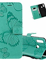 cheap -galaxy a20s case full stylish advanced embossing wallet case credit cards slot with stand for pu leather shockproof flip magnetic case for samsung galaxy a20s big butterfly green kt