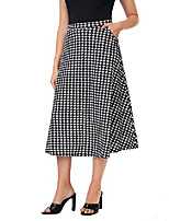 cheap -women's elegant houndstooth skirt high wiast pockets side a line flare midi skirt black&white large