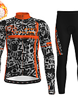 cheap -21Grams Men's Long Sleeve Cycling Jersey with Tights Winter Fleece Polyester Black / Yellow Orange Green Animal Camo / Camouflage Bike Clothing Suit Fleece Lining Breathable 3D Pad Warm Quick Dry