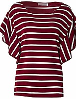 cheap -women plus size blouses stripe casual loose t-shirt tunic short sleeve crew neck shirt tops red