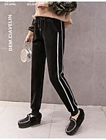 cheap -Women's Basic Streetwear Comfort Daily Going out Jogger Chinos Pants Striped Full Length Pocket Drawstring Gold Silver