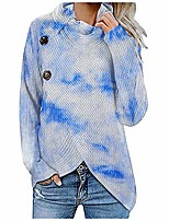cheap -womens lapel pullover tie-dye sweater stylish long turtleneck button top blue