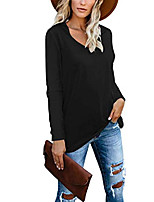 cheap -women's long sleeve t-shirts loose v neck casual oversized tops