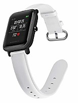 cheap -compatible with amazfit bip lite & amazfit bip,soft genuine leather wrist strap band adjustable replacement smart watch wristband bracelet with stainless silver buckle for 20mm watch women men