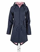 cheap -misaky women's waterproof jacket outdoor sports windproof plus size hooded longline raincoat overcoat with pockets(navy, xxxxl)