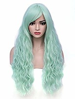 """cheap -28"""" women's long curly wavy wig blue ombre synthetic natural full hair wigs halloween cosplay party daily wig heat resistant (fluorescent green)"""