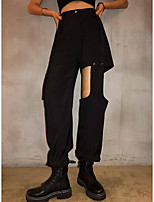 cheap -Women's Sporty Basic Comfort Daily Going out Jogger Sweatpants Pants Solid Colored Full Length Cut Out Pocket Black