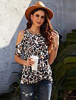 cheap -Women's T-shirt Leopard Cheetah Print Patchwork Print Round Neck Tops Basic Basic Top White Black Khaki