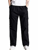 cheap -men's casual overalls loose plus size outdoors multi-pocket sports trousers long pants black