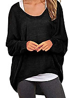 cheap -women's long sleeve off shoulder tops casual t shirt loose knit blouse pullover black l