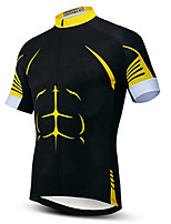 cheap -21Grams Men's Short Sleeve Cycling Jersey Black / Yellow Bike Jersey Top Mountain Bike MTB Road Bike Cycling UV Resistant Breathable Quick Dry Sports Clothing Apparel / Stretchy / Reflective Strips