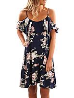 cheap -summer dresses women ruffle short sleeve cold shoulder floral print beach dress blue