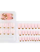 cheap -1 Pack Pink And Gold Fake Nail Stickers Wearable Nails Finished Nails Removable Nail Stickers European And American French Ballet Nails