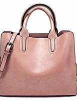 cheap -women's ladies pu leather shoulder top-handle-handbags satchel tote bag purse pink