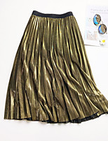 cheap -Women's Causal Daily Active Streetwear Skirts Solid Colored Pleated Black Gold Silver