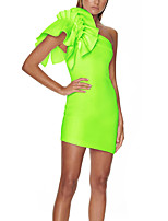 cheap -A-Line Sexy bodycon Party Wear Cocktail Party Dress One Shoulder Sleeveless Short / Mini Spandex with Sleek Ruffles 2020