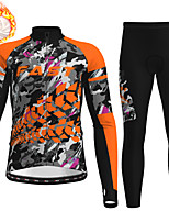 cheap -21Grams Men's Long Sleeve Cycling Jersey with Tights Winter Fleece Polyester Blue Orange Green Animal Camo / Camouflage Bike Clothing Suit Fleece Lining Breathable 3D Pad Warm Quick Dry Sports Graphic