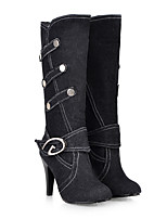 cheap -Women's Boots Stiletto Heel Round Toe Mid Calf Boots Minimalism Daily Walking Shoes Denim Solid Colored Black Blue Light Blue / Mid-Calf Boots