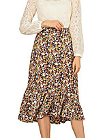 cheap -women's floral fall elastic waist ruffle high low hem vintage skirt orange medium