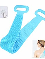 cheap -silicone back scrubber for shower, silicone bath body brush for men women, silicone towel with exfoliating long double side bath strap, easy to clean, back massage, lathers well, long lasting (blue)
