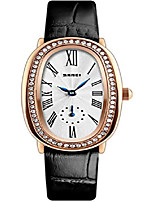 cheap -vintage roman numeral watch women leather waterproof rose gold tone white dial strap oval dress wrist watch (black)