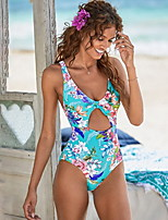 cheap -Women's Fashion Sexy One Piece Swimsuit Slim Normal Swimwear Bathing Suits Light Blue Royal Blue